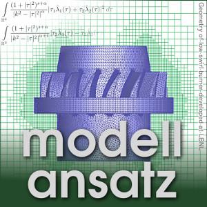 Der Modellansatz: Complex Geometries, Geometry of low swirl burner developed at LBNL, Visualisierung: Sandra May