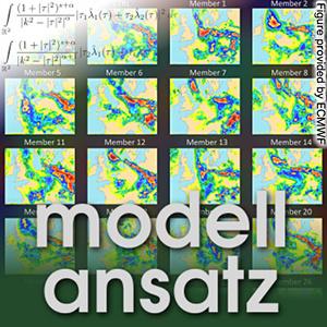 Der Modellansatz: Ensemblevorhersagen, Niederschlagsvorhersage des Europäischen Zentrums für Mittelfristige Wettervorhersage (EZMW) für den 10. Juli 2014. Die EZMW-Vorhersage umfasst 52 Einzelvorhersagen, um die Bandbreite der möglichen Szenarien darzustellen. Hier sind HRES (hochauflösend), CONTROL (niedriger auflösend) und 28 der 50 perturbierten Einzelvorhersagen des Ensembles abgebildet. Die Vorhersagen wurden am 7. Juli 2014 um 00 Uhr GMT initialisiert und am 10. Juli 2014 über den 12-stündigen Tageszeitraum (0600 – 1800) verifiziert. Die Farben entsprechen der akkumulierten Niederschlagsmenge. Wir danken dem EZMW für die Bereitstellung der Abbildung.