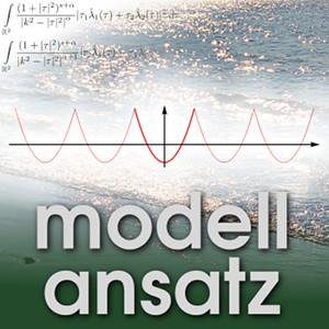 Der Modellansatz: Peaked Waves. Plot: A. Geyer, Photo, Komposition: S. Ritterbusch