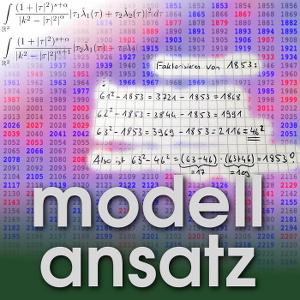Der Modellansatz: RSA-Faktorisierung. Illustration und Komposition: Sebastian Ritterbusch. Rot sind Primzahlen, blau Produkte zweier unterschiedlicher Primzahlen.